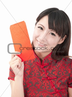Beautiful asian girl holding red bag for lucky and rich