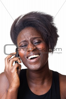Beautiful Black Woman Talking on Mobile Phone
