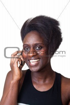 Beautiful Black Woman Talking on Mobile Phone