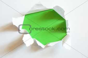 green hole in blank sheet paper