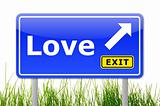 blue road sign with word love