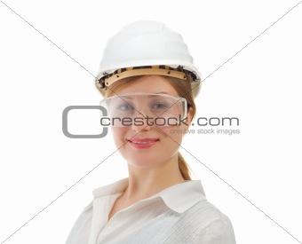 beautiful businesswoman in helmet