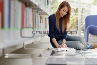 girl studying on floor in library