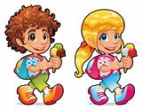 Boy and girl with ice cream
