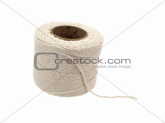Roll of hemp string isolated on white