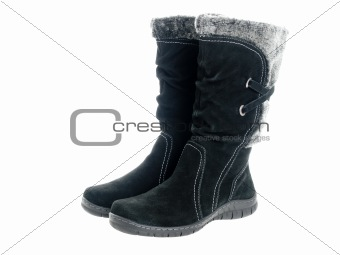 Black female boots isolated on pure white background