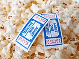 Pop Corn with tickets isolated on white background