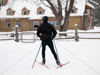 cross-country skiing in the winter