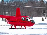 Red helicopter in winter