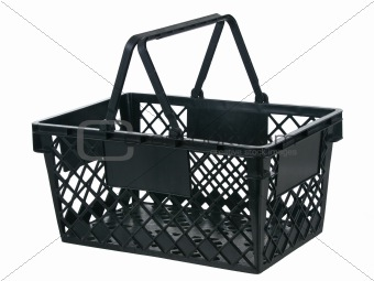Black plastic basket side view handles up