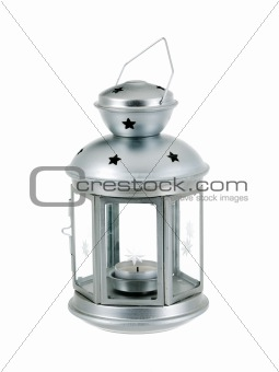 Tin grey metal lantern