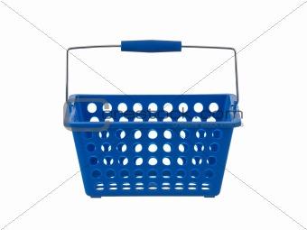 Blue plastic basket front view