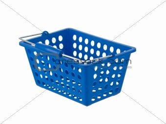 Blue plastic basket side view handle down