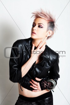 Attractive Young Woman in Punk Attire