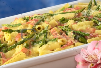 Green Asparagus-Ham-Macaroni Casserole