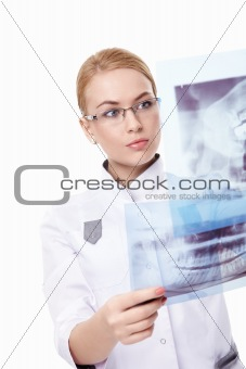 Attractive doctor with x-ray