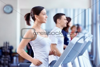 People on treadmills