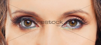 Beautiful eyes of the woman with fashion make-up