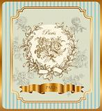 Vector label with wreath and roses