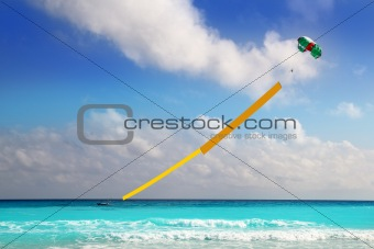advertise beach parachute boat yellow copyspace