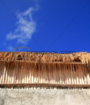 Palapa sunroof detail wooden sticks wal