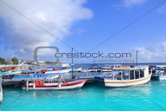 Caribbean Puerto Juarez boat pier turquoise sea