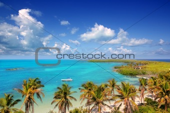aerial view Contoy tropical caribbean island Mexico
