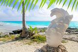 Caribbean Tulum Mexico beach mayan face statue