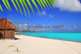 Caribbean palapa front tropical beach Mayan Riviera