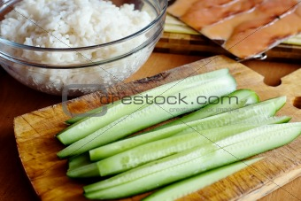 Rice and cucumber