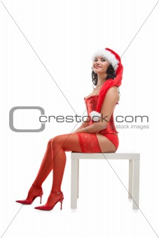 Beautiful christmas woman in santa hat