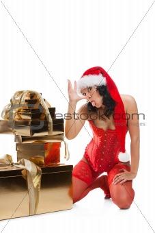 Beautiful christmas woman in santa hat