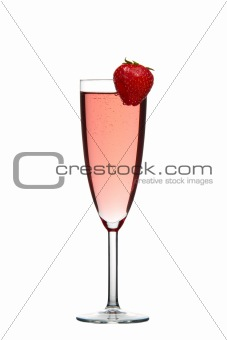 Red champagne drink with Strawberry isolated