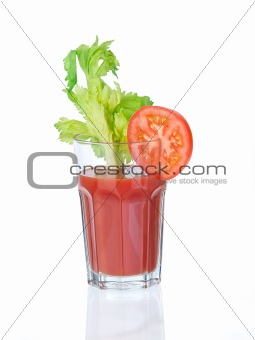Vegetable juice glass with garnishings