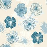 seamless background with abstract flowers and blots