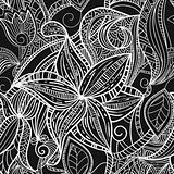 seamless hand drawn monochrome floral pattern