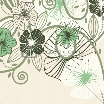 background with abstract flowers and blots