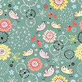 floral pattern with birds in love