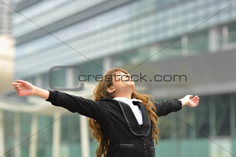 business woman stretch oneself