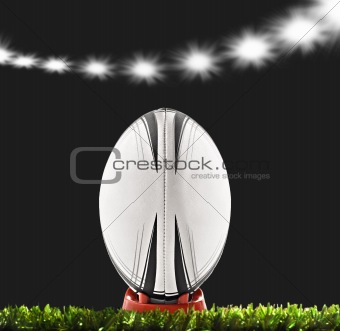 a Rugby ball on a rugby field