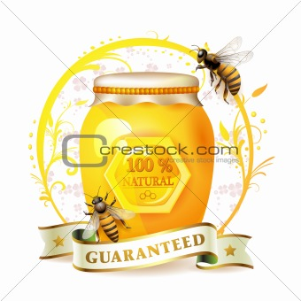 Bees with glass jar and honey
