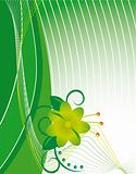 Abstract green background with a flower