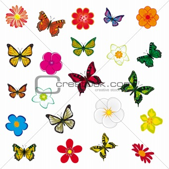 A set of flowers and butterflies