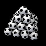 Image of Soccer Ball Pyramid on Black Background