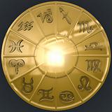 Image of Golden Disk with Glassy Zodiac Signs