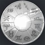 Image of Silver Disk with Glassy Zodiac Signs