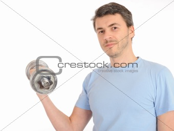 young healthy man working out with free weights. isolated