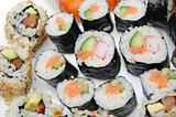 Different Types of Maki Sushi and Nigiri Sushi in Sushi Set