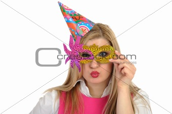 Pretty party female celebrating birthsday and having fun