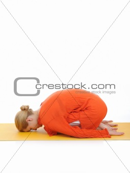 series or yoga photos. young woman relaxing in pranama pose